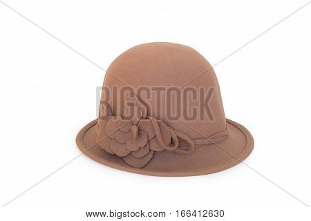 Brown Vintage Woman Hat Isolated White Background