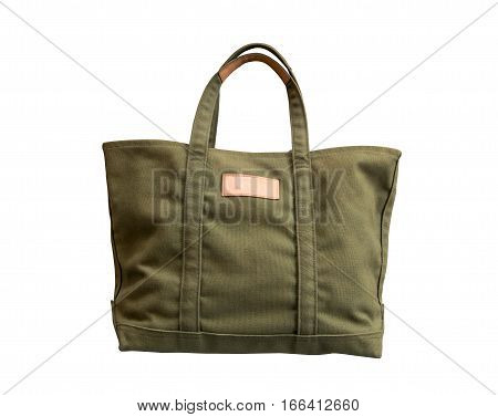 Canvas Texture Tote Bag Isolated White Background