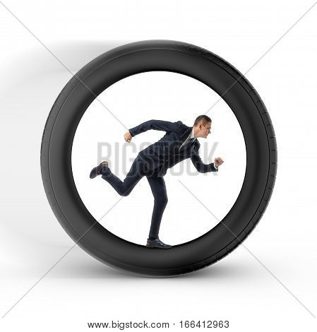 Businessman to be pressed for time is running in the center of a big wheel. Time management. Business relationship. Entrepreneur