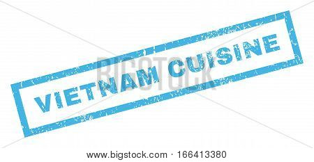 Vietnam Cuisine text rubber seal stamp watermark. Caption inside rectangular banner with grunge design and dust texture. Inclined vector blue ink sign on a white background.