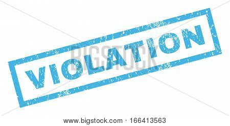 Violation text rubber seal stamp watermark. Tag inside rectangular shape with grunge design and dust texture. Inclined vector blue ink sign on a white background.
