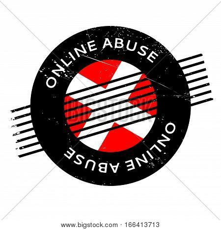 Online Abuse rubber stamp. Grunge design with dust scratches. Effects can be easily removed for a clean, crisp look. Color is easily changed.