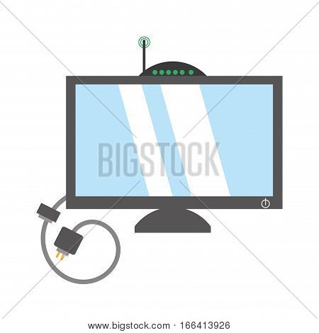 computer moden antena signal cable vector illustration eps 10