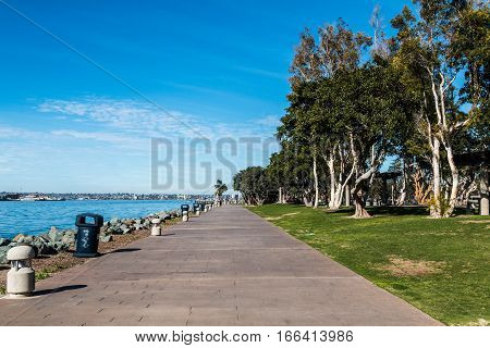 Walkway along the bay through Embarcadero Marina Park North in San Diego, California.