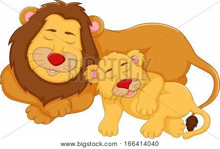 cute lion cartoon sleeping with her baby for you design
