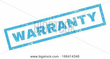 Warranty text rubber seal stamp watermark. Caption inside rectangular shape with grunge design and dust texture. Inclined vector blue ink sticker on a white background.