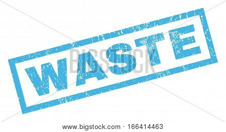 Waste text rubber seal stamp watermark. Tag inside rectangular banner with grunge design and dust texture. Inclined vector blue ink sticker on a white background.