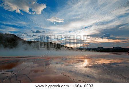 Grand Prismatic Spring at sunset in the Midway Geyser Basin in Yellowstone National Park in Wyoming U S