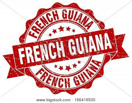 French Guiana. round isolated grunge vintage retro stamp