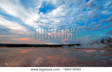 Grand Prismatic Spring at sunset in the Midway Geyser Basin in Yellowstone National Park in Wyoming U S A