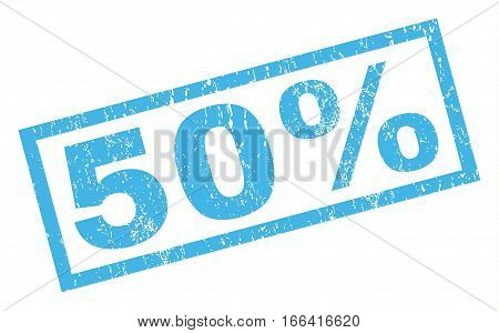 50 Percent text rubber seal stamp watermark. Tag inside rectangular shape with grunge design and dust texture. Inclined vector blue ink emblem on a white background.