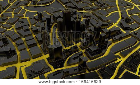 black low poly city views from above. 3d rendering