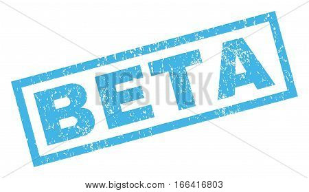 Beta text rubber seal stamp watermark. Tag inside rectangular shape with grunge design and dirty texture. Inclined vector blue ink sticker on a white background.