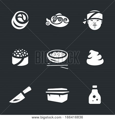 Rolls, fish, Sushi master, eggs, rice, knife, wasabi, packaging, soy sauce.
