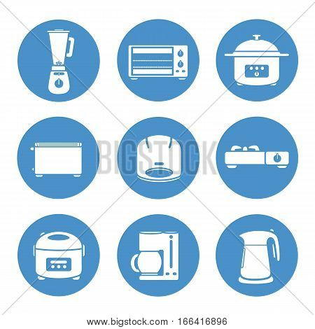 Appliances in the kitchen  icons set design.