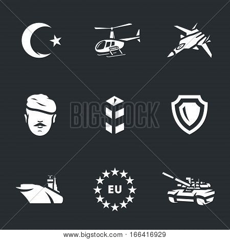 Crescent, helicopter, fighter, soldier, border post, shield, aircraft carrier, European Union, tank.