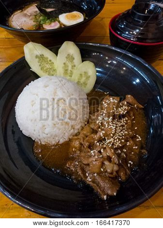 Butadon Pork Bowl Is A Japanese Dish With Pork