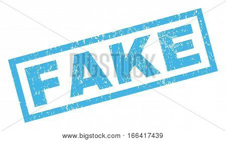 Fake text rubber seal stamp watermark. Caption inside rectangular shape with grunge design and unclean texture. Inclined vector blue ink emblem on a white background.
