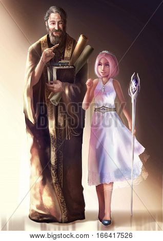 Cartoon illustration of a cute young queen or princess walking and dicussing with an elder nobleman or high priest. In fantasy character design medieval age concept.