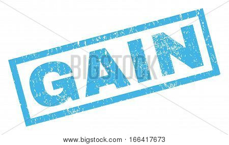Gain text rubber seal stamp watermark. Caption inside rectangular banner with grunge design and scratched texture. Inclined vector blue ink sign on a white background.