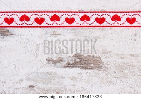 Decorative Ribbon With Heart Shape, Copy Space For Text