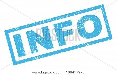 Info text rubber seal stamp watermark. Tag inside rectangular banner with grunge design and unclean texture. Inclined vector blue ink sticker on a white background.