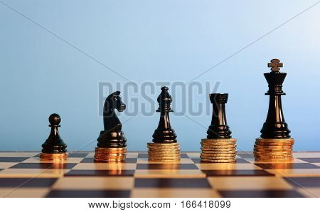 Chess Pieces On Stacked Coins,