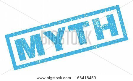 Myth text rubber seal stamp watermark. Caption inside rectangular shape with grunge design and scratched texture. Inclined vector blue ink sign on a white background.