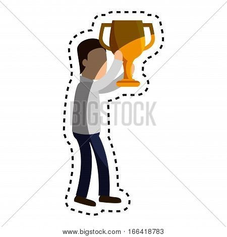 businessman character avatar with trophy vector illustration design