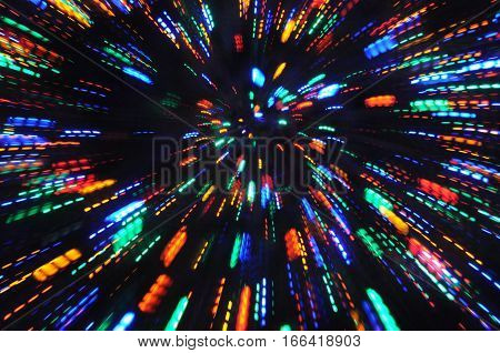 blurred holiday lights, motion blur with zoom effect