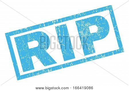 Rip text rubber seal stamp watermark. Caption inside rectangular banner with grunge design and unclean texture. Inclined vector blue ink sticker on a white background.