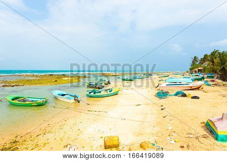 Jaffna Point Pedro Fishing Village Boats Beach H