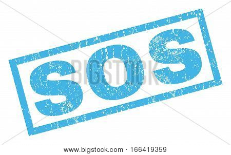Sos text rubber seal stamp watermark. Caption inside rectangular shape with grunge design and unclean texture. Inclined vector blue ink emblem on a white background.