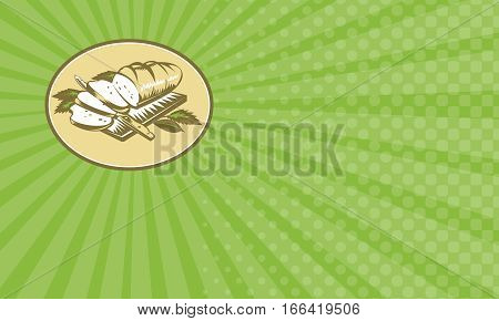 Business card showing Illustration of loaf of bread sliced on chopping board with knife and leaves done in retro woodcut style.