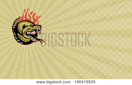 Business card showing Illustration of a rattle snake snake head with flames.
