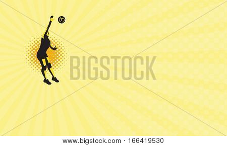 Business card showing Illustration of a female volleyball player jumping spiking ball done in retro style.