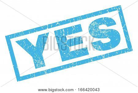 Yes text rubber seal stamp watermark. Tag inside rectangular banner with grunge design and scratched texture. Inclined vector blue ink sticker on a white background.