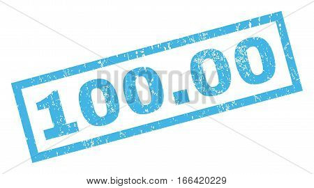 100.00 text rubber seal stamp watermark. Tag inside rectangular shape with grunge design and dirty texture. Inclined vector blue ink sign on a white background.