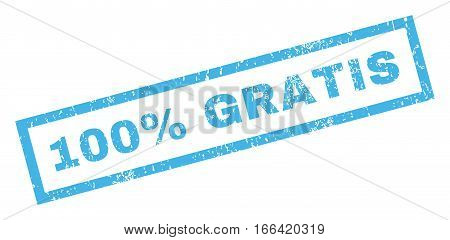 100 Percent Gratis text rubber seal stamp watermark. Caption inside rectangular shape with grunge design and dust texture. Inclined vector blue ink emblem on a white background.