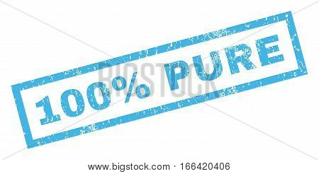100 Percent Pure text rubber seal stamp watermark. Caption inside rectangular shape with grunge design and scratched texture. Inclined vector blue ink sign on a white background.