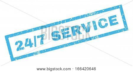 24-7 Service text rubber seal stamp watermark. Tag inside rectangular banner with grunge design and scratched texture. Inclined vector blue ink sticker on a white background.