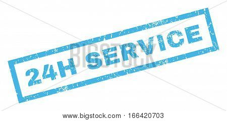 24H Service text rubber seal stamp watermark. Caption inside rectangular shape with grunge design and unclean texture. Inclined vector blue ink emblem on a white background.