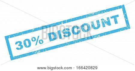 30 Percent Discount text rubber seal stamp watermark. Tag inside rectangular shape with grunge design and dust texture. Inclined vector blue ink sticker on a white background.