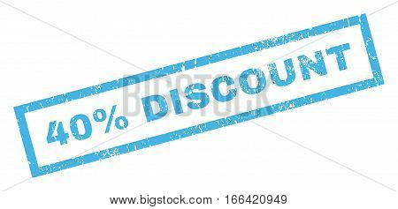 40 Percent Discount text rubber seal stamp watermark. Caption inside rectangular shape with grunge design and dirty texture. Inclined vector blue ink sticker on a white background.