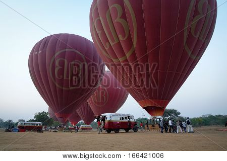 Hot Air Balloons Ready To Flying In Bagan