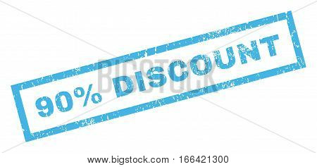90 Percent Discount text rubber seal stamp watermark. Tag inside rectangular banner with grunge design and scratched texture. Inclined vector blue ink sign on a white background.