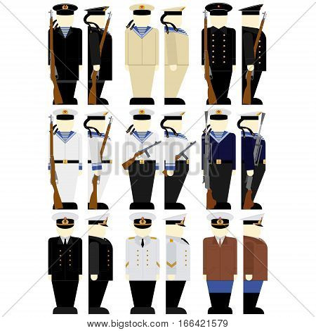 Uniforms and weapons of Soviet soldiers and officers of the Navy in the Second World War. The illustration on a white background.