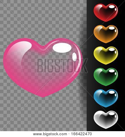 Colorful heart translucent on black background for Valentine day and wedding concept
