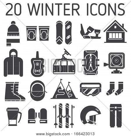 Winter sports and activity vector icon set. Mountain ski and snowboard equipment collection. Ski resort outline icons. Winter active lifestyle element with skiing and snowboarding gear and essentials.