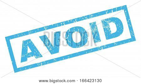 Avoid text rubber seal stamp watermark. Tag inside rectangular shape with grunge design and scratched texture. Inclined vector blue ink sign on a white background.